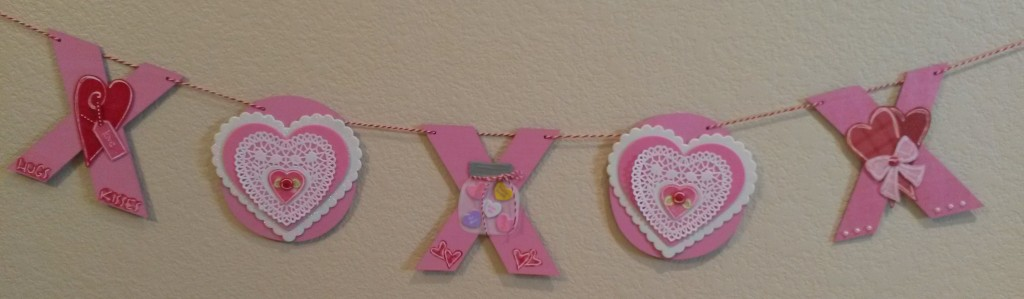 Barbara's Valentine Banner using L.I. Templates Nos. L9356, L9453, L9457, L9460, L9632, L9635.
