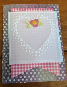L.I. Template #L9781 using Hugs and Kisses Grunge, Pink Mini Gingham, White Vellum, Pink Canvas Dark, and Lime Fizz Damask.