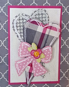 L.I. Template #L9453 using Gray Quatrefoil, Pink Canvas Dark, Canvas Natural, Gray Tweed, Hugs and Kisses Plaid, Mini Dots, Yellow Daisies Damask and Lime Fizz Damask.